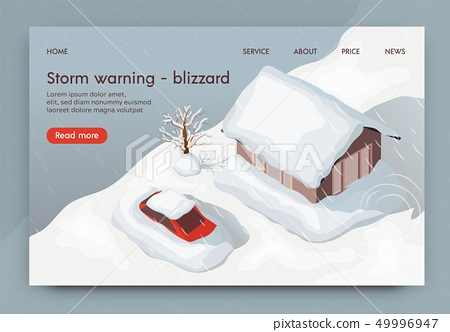 Vector Illustration Storm Warning Blizzard 3d. 49996947