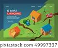 Vector Illustration Be Careful Earthquake Banner. 49997337