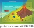 Flat Banner is Written Volcanik Eruption Isometric 49997386