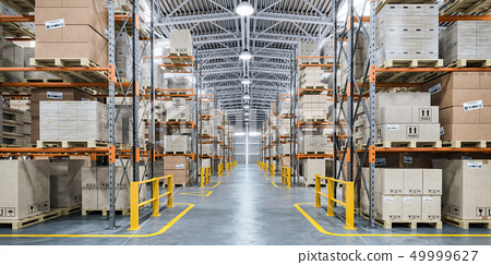 Warehouse or storage and shelves with boxes 49999627