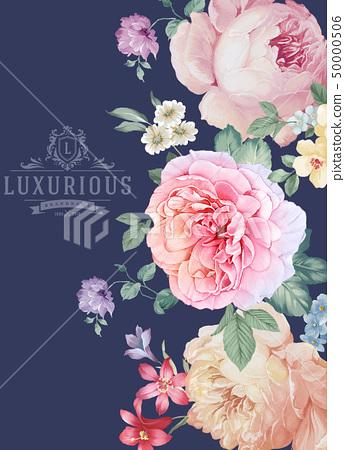 優雅美麗的牡丹花卉和邀請卡設計 50000506