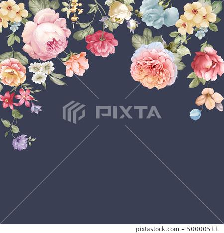 優雅美麗的牡丹花卉和邀請卡設計 50000511
