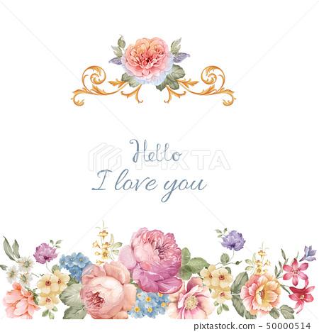 優雅美麗的牡丹花卉和邀請卡設計 50000514