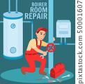 Man Plumber Repair Valve Boiler Room Illustration 50001607