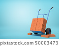 3d rendering of stack of red perforated bricks on blue hand truck with several bricks on ground on 50003473