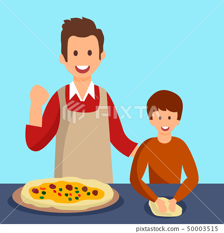Father and Son Cooking Dinner Vector Illustration 50003515
