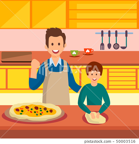 Father and Son Cooking Pizza Vector Illustration 50003516