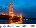 The Golden Gate Bridge in San Francisco at night 50008901