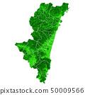 Miyazaki Prefecture Map and Municipal Boundaries 50009566