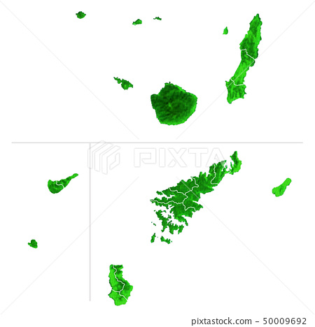 鹿兒島縣地圖2和市政邊界 50009692