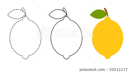 Lemon to be colored and trace line 50012237