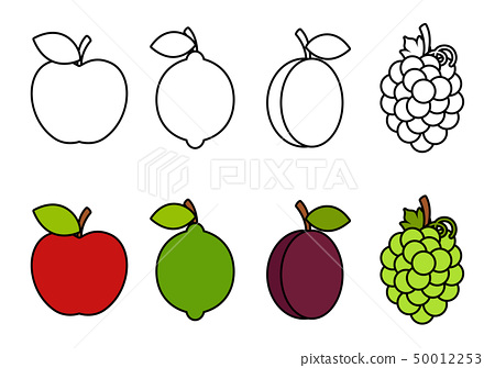 - Coloring Book With Fruits, Coloring For Kids - Stock Illustration  [50012253] - PIXTA
