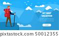 Man Traveler with Backpack Mountain Snow Peak 50012355