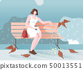 Pensive Girl in Park Sits and Feeds Birds Cartoon. 50013551