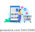 Woman with Trolley and Online Shop Application. 50015680