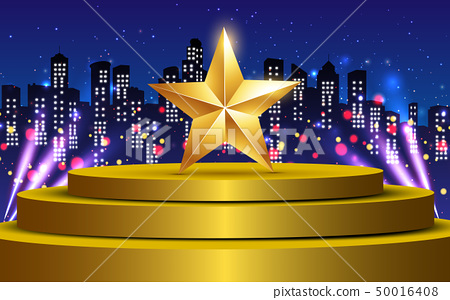 gold star on the gold stage with colorful light in 50016408