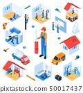 Set Turnkey Apartment Renovation Isometric Flat. 50017437