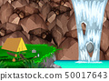 camping at waterfall in the jungle 50017643