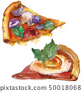 Fast food itallian pizza in a watercolor style isolated. Aquarelle food illustration for background. 50018068