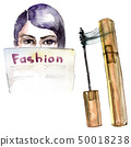 Woman and mascara sketch glamour illustration in a watercolor style isolated element. Watercolour 50018238