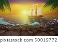 sailboat in the ocean in sunset 50019772