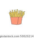 French fries in red carton drawing 50020214
