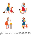 Vector parenting problem big family tired parents 50020333