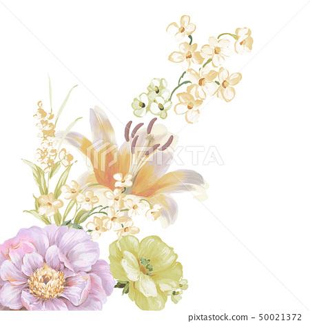 柔和色彩的花卉和水彩花 50021372