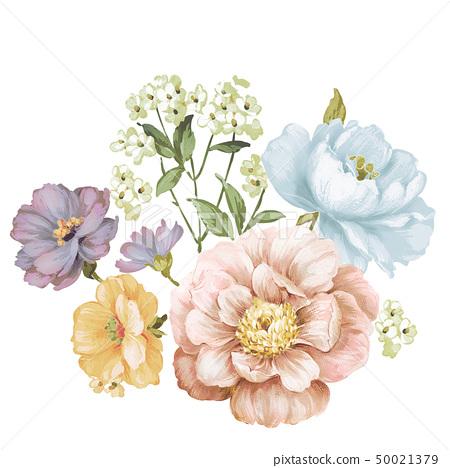 柔和色彩的花卉和水彩花 50021379