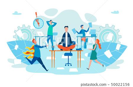 Deadline in Work Stress for Body Cartoon Flat. 50022156