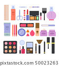 Different makeup accessories for girls and women. Cosmetics illustrations in flat style 50023263