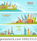 Vector design of three horizontal banners of travel illustrations and world landmarks. Pictures with 50023313