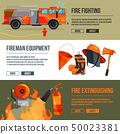 Horizontal banners set of fireman tools pictures. Firefighter in big flame. Vector illustrations 50023381
