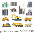Big heavy yellow machines and modern buildings at construction stages. Unfinished home. Vector 50023399