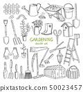 Vector hand drawn illustrations of gardening. Different doodle elements set for garden work 50023457