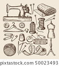 Vintage sewing symbols set. Vector pictures in hand drawn style 50023493