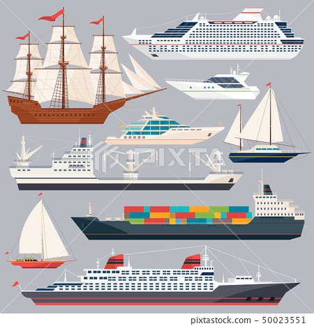 Sea transportation. Vector illustrations of ships and different boats. Flat style pictures 50023551