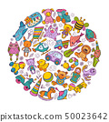Childrens toys icon set in circle shape. Doodle vector illustrations 50023642