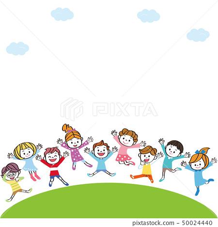 孩子們在山上跳躍 50024440