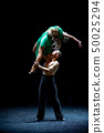 Couple of dancers performing on isolated black background 50025294