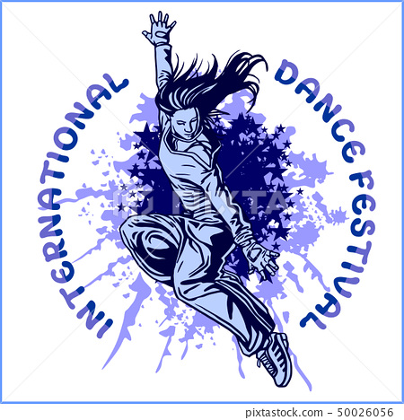 Grunge poster with girl dancer 50026056