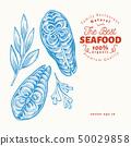 Fish steaks illustrations. Hand drawn vector 50029858