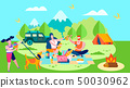 Summer Camp and Picnic in Forest Cartoon Banner 50030962