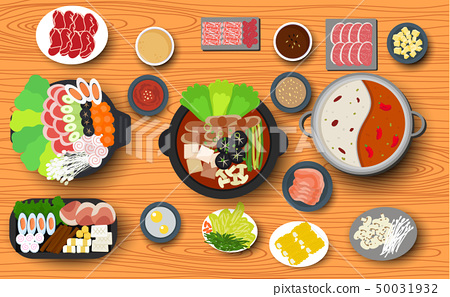 Hotpot and ingredient on the wooden table 50031932