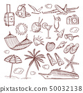 Summer time theme in hand drawn style. Vector doodles icon set 50032138