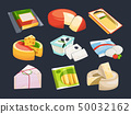 Different packaging of cheeses. Vector illustration set 50032162