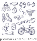 Vector doodle set of sport equipment. Hand drawn illustrations isolate on white background 50032170