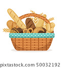 Vector illustration for bakery shop. Basket with wheat and fresh bread 50032192