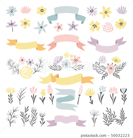 Floral vector decorative elements. Flowers, ribbons and plants for wedding invitation design 50032223