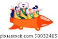 Family Having Fun on Roller Coaster Promotion Card 50032405